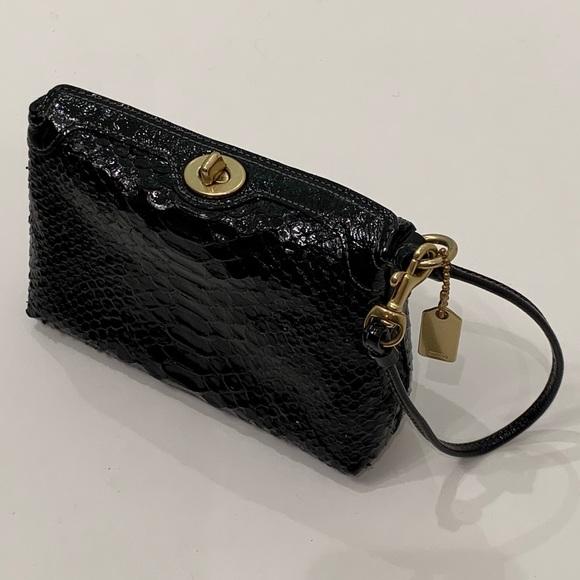 COACH black Snakeskin turn-lock clutch/wristlet 🖤